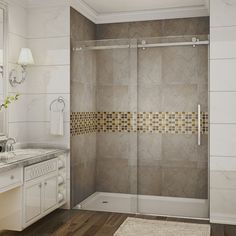 Moselle 60 In x 75 In Completely Frameless Sliding Shower Door in Stainless Steel