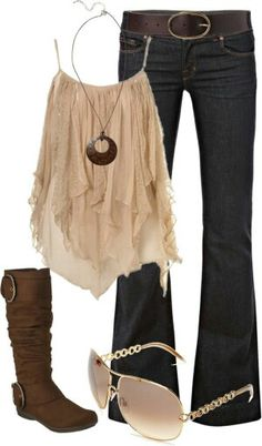 NOT the boots.Lovely Summer Shirt, Brown Winter Shoes, Nice Accesories, Beautiful Sunglasses And Adorable Jeans. Komplette Outfits, Summer Outfits, Casual Outfits, Fashion Outfits, Concert Outfits, Maternity Outfits, Fashion Boots, Fall Outfits, Fashion Ideas