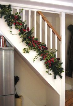 The Bottom of Christmas Banister Decorating Ideas View deck railing http://awoodrailing.com