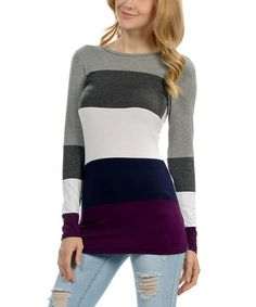 Look what I found on #zulily! Violet & Gray Color Block Scoop Neck Top #zulilyfinds