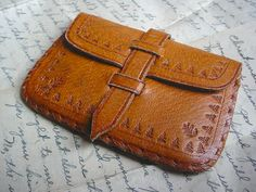 Vintage Tooled Leather Compact Mirror Coin Purse Pouch by rubyfloy
