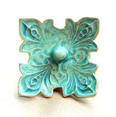 Ceramic Ring Holder Bowl fleur de lis Sea green with gold edging on Etsy, $18.00