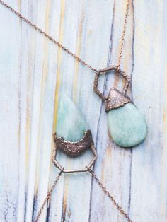 Amazonite droplets Friendship copper minimal pendant - MoonDome - 5