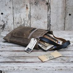 eyeing this as a potential iPad tote // Waxed Canvas Reader Truffle antique military leather by PegandAwl