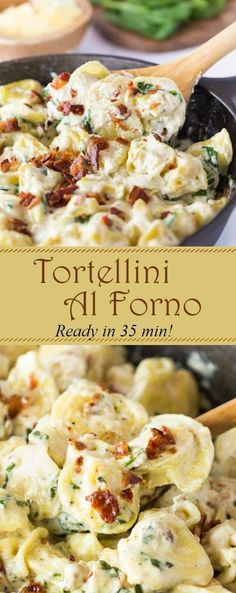 This Tortellini Al Forno features stuffed tortellini tossed in a rich and creamy. - This Tortellini Al Forno features stuffed tortellini tossed in a rich and creamy garlic cheese sauc - Tortellini Pasta, Cheese Tortellini Recipes, Stuffed Pasta Recipes, Recipes With Bacon For Dinner, Pasta Sauce Recipes For Tortellini, Bacon Pasta Recipes, Bacon Recipes For Dinner, Pasta Recipies, Vegetarian Recipes