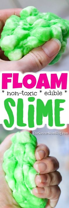 Poofy, squishy DIY Floam Slime is easy to make at home (only 4 ingredients!) And it's EDIBLE!! Safe for kids of all ages! NO toxic chemicals, NO glue, NO borax, NO worries! #slime #floam #sensoryplay via @https://www.pinterest.com/soccermomblog