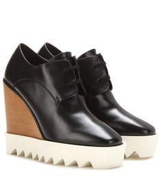 Black platform derby shoes