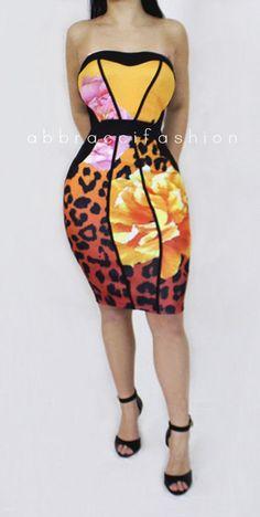 d43b9a5fb9 Leopard Floral Print Strapless Midi Dress Strapless Midi Dress