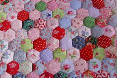 100 PATCHWORK HEXAGONS-66% Laura Ashley/Cath Kidston fabrics.. they look so sweet just waiting and wondering who they will be placed next to!!!