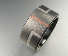Wedding Band Art Deco Titanium Rose Gold Silver. $649.00, via Etsy.