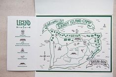 Guide your wedding guests around your summer camp wedding with a camper's guidebook wedding program, featuring a woodsy map so no camper misses out on the adventures.
