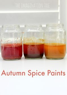 Make DIY Autumn spice paints for painting leaves!