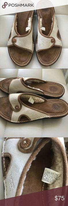 UGG SLIDES Brand new, so comfy UGG SLIDES w/ sheepskin lining. Super sweet and awesome❤️ UGG Shoes Sandals