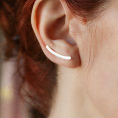 Silver curved bar ear cuff, Large ear climber. Minimal ear crawler, Long climber earrings. Made to order Bar Earrings, Unique Earrings, Earrings Handmade, Handmade Jewelry, Trendy Jewelry, Modern Jewelry, Etsy Handmade, Silver Earrings, Handmade Gifts