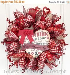 Rustic Valentine Wreath Valentines Day Deco by WhisperCreekWreaths
