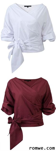 Burgundy & White Wrap V Neck Blouse With Bow Tie