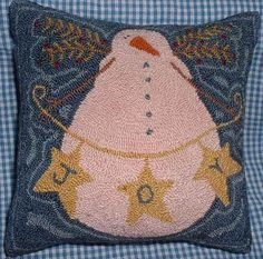 Free Punch Needle Patterns | Primitive Needle Punch Pattern Snowman Joy by thetalkingcrow