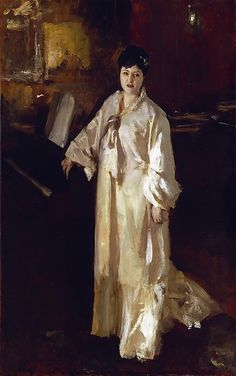 Judith Gautier , John Singer Sargent. Ms. Gautier (1845-1917) wrote important reviews of his works he had exhibited at the Salon. She was the last love and muse of composer, Richard Wagner, who Sargent admired deeply.  Sargent did several uncommissioned portraits of her in mixed media.