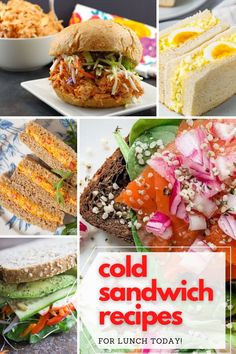 What are you having for lunch today? These cold sandwich recipes are easy to prepare and perfect for enjoying at home or on the go. Let these recipes inspire you!  #lunchboxrecipes #lunchbox #sandwiches Packed Lunch Sandwiches, Healthy Sandwiches, Sandwiches For Lunch, Delicious Sandwiches, Best Sandwich Recipes, Best Lunch Recipes, Sandwich Ideas, Burger Recipes, Quick Recipes
