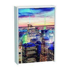 Armario Zapatero de tres Trampones Blanco New York en material de aglomerado melaminizado viene decorado con una fotografia de una vista de la ciudad Newyorkina.