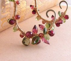 Red and Green gemstone encrusted earrings garnet tourmaline peridot $75