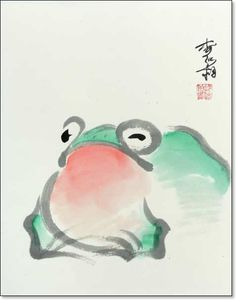 Toad in Color, featured artist: #Jan Zaremba #brushpainting #sumie http://www.asianbrushpainter.com/blog/gallery/jan-zaremba/