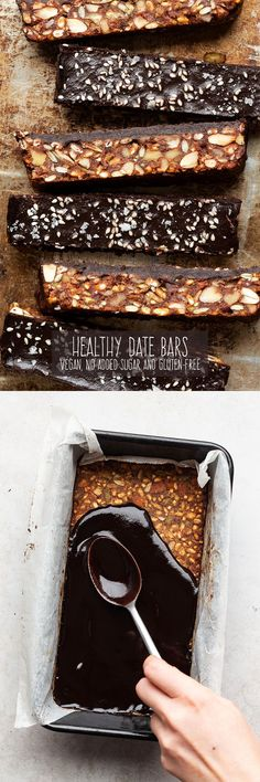 Healthy date bars – Lazy Cat Kitchen - Gourmet-Rezepte Easy No Bake Desserts, Vegan Desserts, Delicious Desserts, Baking Desserts, Vegan Sweets, Kitchen Recipes, Snack Recipes, Dessert Recipes, Vegan Recipes