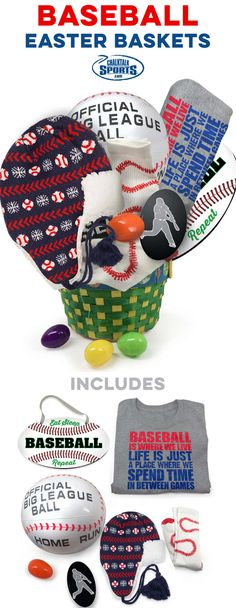 Baseball Easter Baskets pre-filled with baseball gifts and apparel that you can only find at ChalkTalkSPORTS.com! Surprise your favorite baseball player with an Easter basket they are sure to love.