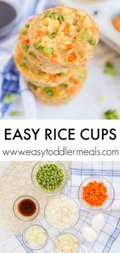 This baked rice cups recipe is perfect for using up leftover rice, and it's a great way to get healthy veggies into your kids. What's more, these bites are custom made for tiny hands! Delicious and nutritious, these little treats will be a big hit, warmed Easy Toddler Meals, Kids Meals, Easy Meals, Toddler Food, Toddler Recipes, Toddler Lunches, Baby Food Recipes, Healthy Dinner Recipes, Healthy Snacks