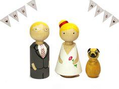 Hochzeitsgästebuch - Hochzeits-Cake-Topper mit Hund ♥ Hochzeitstorte - ein Designerstück von frollein-feierlich bei DaWanda