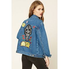 Forever21 Love You Patched Denim Jacket ($27) ❤ liked on Polyvore featuring outerwear, jackets, denim, patch jacket, forever 21, long jacket, blue jean jacket and patched denim jacket