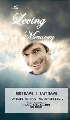 U0027Ray Of Lightu0027 Clouds 4 Step Graduated Funeral Template For Order Of Service .  Order Of Service Template Free