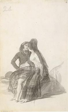 Goya (Francisco de Goya y Lucientes)  (Spanish, 1746–1828). Lovers Sitting on a Rock, 1796–97. The Metropolitan Museum of Art, New York. Harris Brisbane Dick Fund, 1935 (35.103.6)
