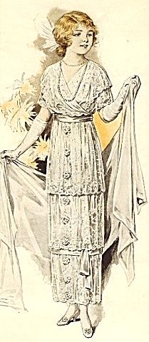 1913 Fashion Illustration The Delineator Ladies Lace Dress
