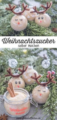 Make Christmas sugar yourself as a gift from the kitchen - Schnin& Kitchen Make Christmas sugar yourself – a delicious recipe for sugar with vanilla and fine Christmas spic Christmas Balls, Diy Christmas Gifts, Christmas Cookies, Christmas Ornaments, Holiday Decor, November 2019, Diy Weihnachten, Reindeer, Lettering