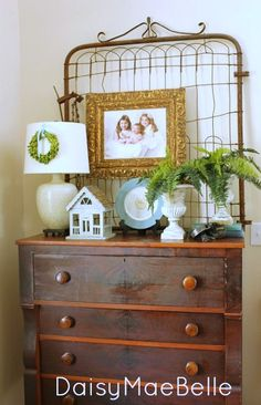 My Foyer @ DaisyMaeBelle - Putting a dresser or an interesting (non-traditional) piece of furniture in a different location... Great idea.  An antique dresser in a foyer... Perfect!