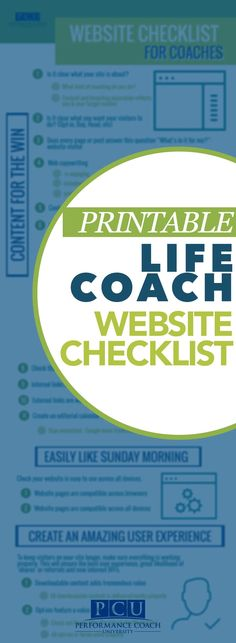 If you're a life coach, business coach, or health coach of any sort, this website checklist is a MUST have! Loaded with everything you need to make great business website that engages your target audience and converts them into clients and customers. Covers socials tips, content marketing strategies, lead generation ideas, and how to build a successful website for startups or professionals!! Check out more great tools for coaches at http://www.PerformanceCoachUniversity.com