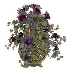 David Shaw Silverware NA LTD Morning Glory w/Decorative Vase Silk Plant, Purple