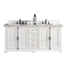 Buy the James Martin Vanities undefined undefined Direct. Shop for the James Martin Vanities undefined undefined Providence Free Standing Double Basin Vanity Set with White Oak Cabinet and Iconic Black Quartz Vanity Top and save. White Double Vanity, Double Sink Vanity, Vanity Sink, Bath Vanities, Sinks, Double Sink Bathroom, White Vanity Bathroom, Bathroom Vanity Cabinets, Small Bathroom