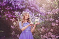 Mod. Marta Kołątaj One of my favorite <3   #photography #photoshoot #photo #ideas #blossom #flowers #magic #spring #fairytale #dress #color #blonde #girl #smile #bird #cage #purple #lilac