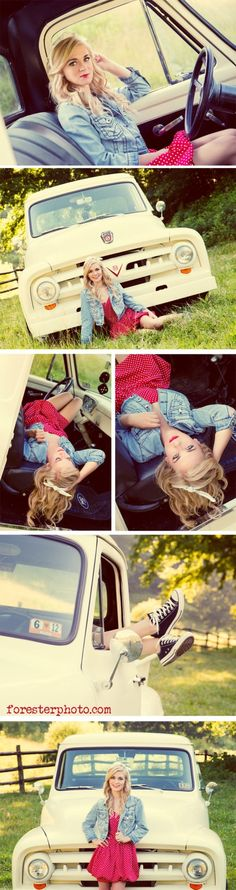 Truck senior picture ideas for girls. Senior pictures with trucks. Truck senior pictures. #truckseniorpictureideas #truckseniorpictures #seniorpictureideasforgirls by Ericdress fashion