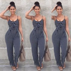 c3c0f36089d Summer New Blue Bodycon Backless Stripe Jumpsuits Women Sexy Party Clubwear  Jumpsuits Casual Bowtie Overalls Jumpsuit