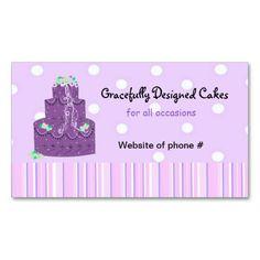Purple stripes designer cake business card cake business designer purple wedding cake business cards cakes wedding business reheart Choice Image