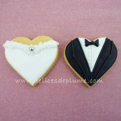 Biscuits coeurs mariage sur www.delicesdeplume.com
