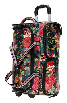 Sakroots Artist Circle Rolling Duffel in Jet Flower Power - This stylish bag  features an allover bright allover floral print atop a black background a21511df11d3