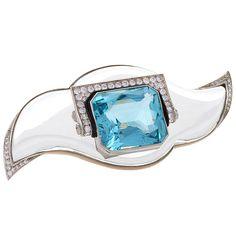 Mauboussin Art Deco Aquamarine Rock Crystal Diamond Platinum Brooch, ca. 1930s