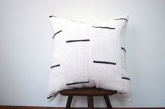 Authentic African Mudcloth Pillow Cover, Tribal Print Boho Pillow Cover Black and White Geometric Pattern Pillow Cover
