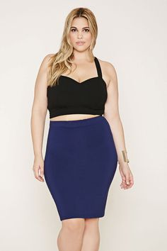 Forever 21+ - A stretch knit skirt with an elasticized waist and a bodycon fit.