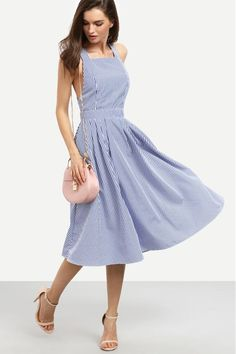 Apres Sea Blue And White Striped Swing Dress