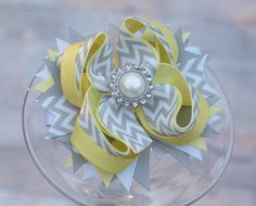 Yellow and Gray Chevron layered hair bow, large hair bow, boutique layered hair bow. $9.99, via Etsy.